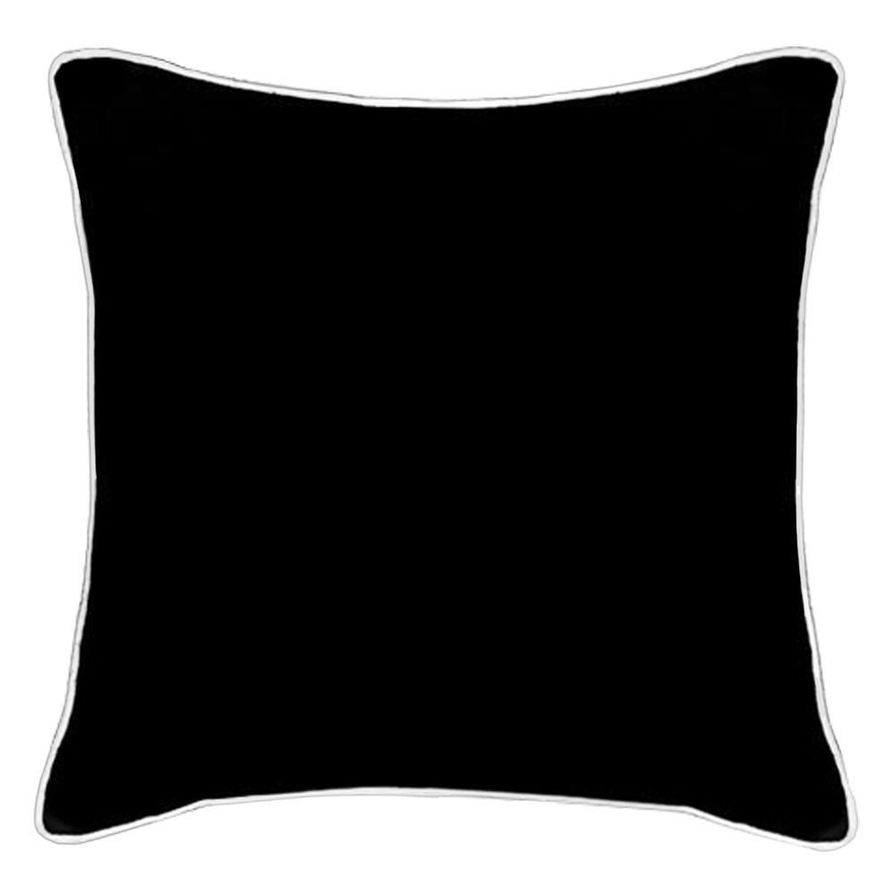 Wanda Piped Black Linen Cushion